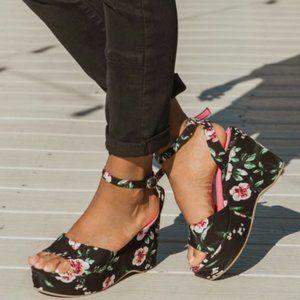 Muk Luks Elodie Floral Wedge Sandal